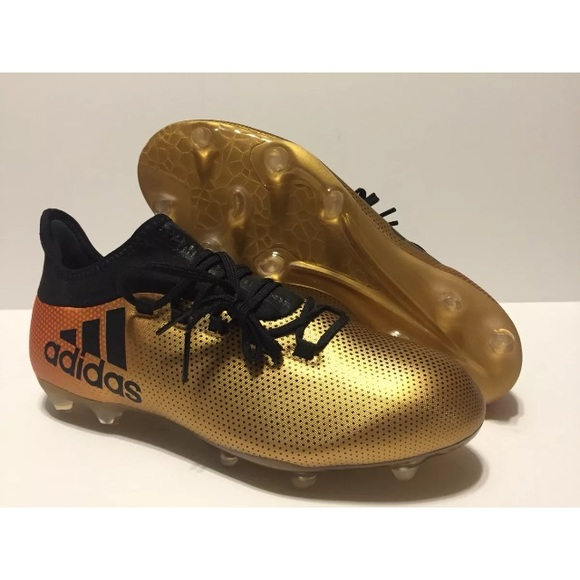 Adidas X 17.2 FG Soccer Cleats Boots Gold Black 94500433f
